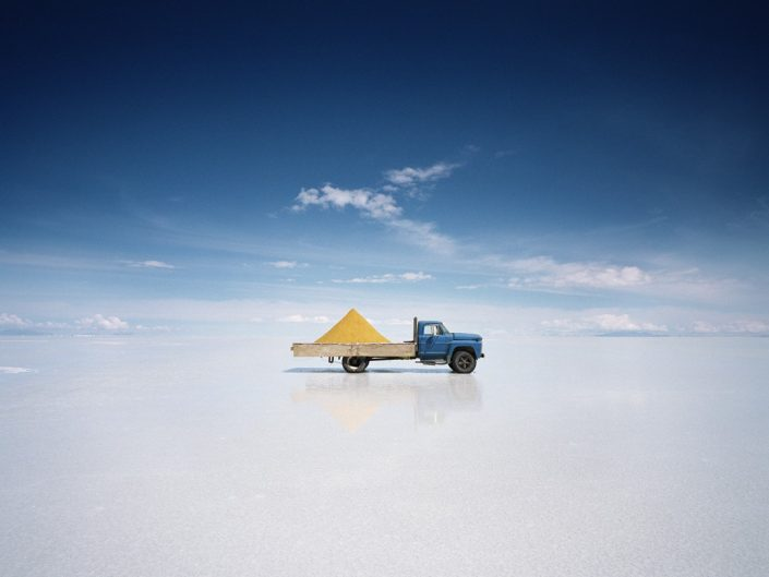 Scarlett Hooft Grassland salt lake photography of car on the white background of salt lake.