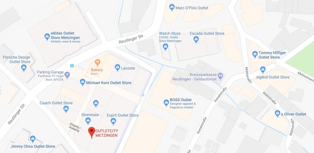 Metzingen google maps screenshots showing a lot of outlet shops