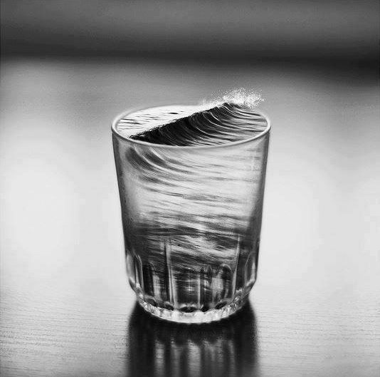 Macroshot of Silvia Grav at the storm in a glass of water