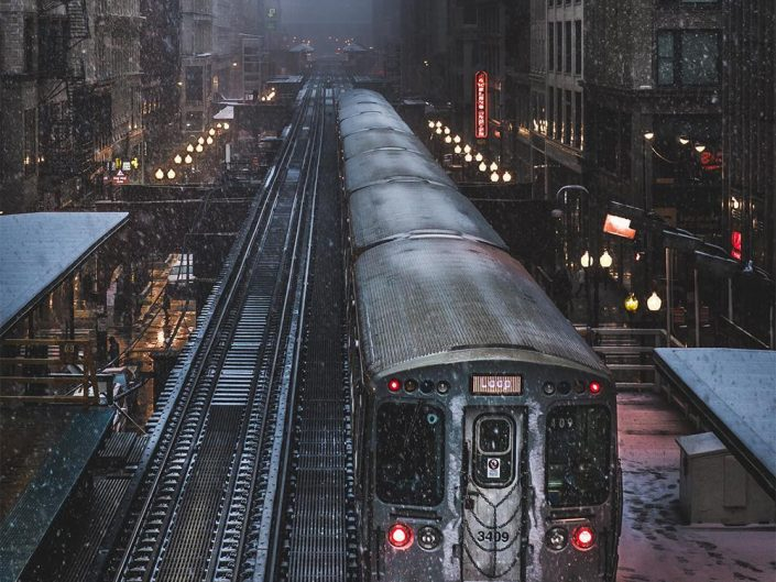 Mike Meyers photography. Metro in a cloudy, rainy Chicago Day.