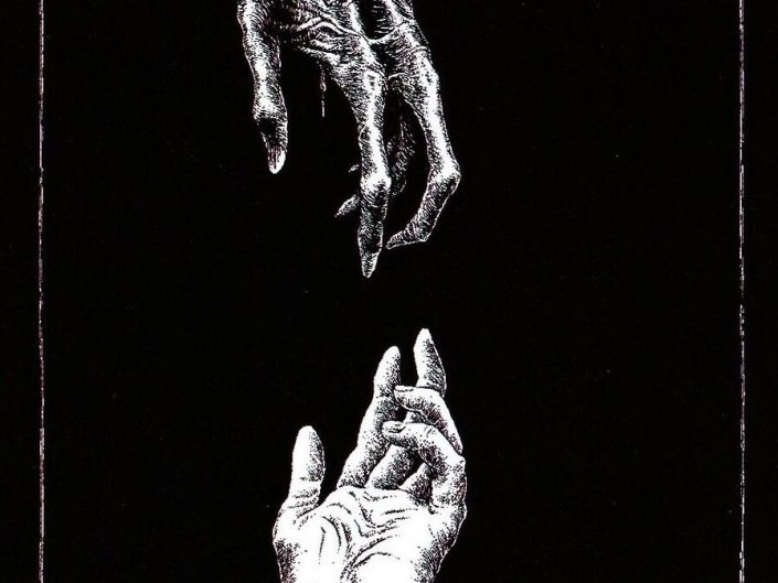 Macabre Dark Artwork by Timo Ketola - skeleton hand reaching out from the top to normal human hand at the bottom.