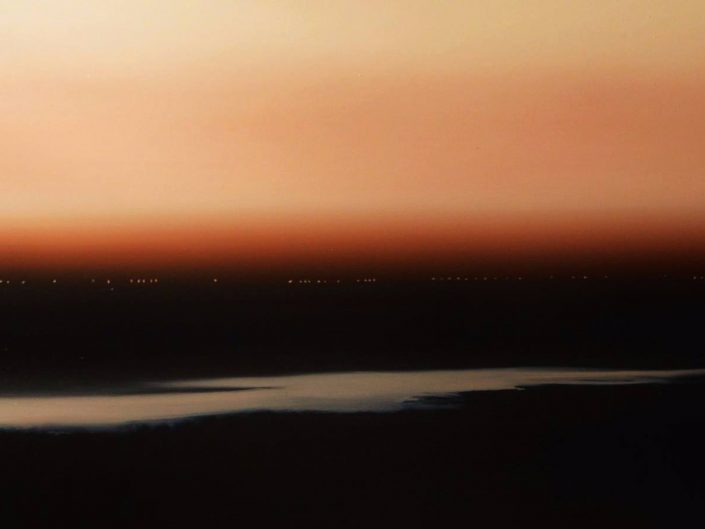 Oil painting by Urszula Kałmykow of evening landscape.