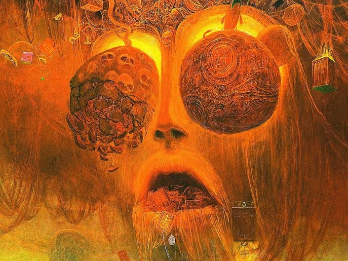 Symbolic artwork by Zdzisław Beksiński. Yellow - orange color tone face with extreme amounts of details