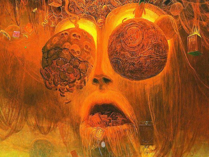 Symbolic artwork by Zdzisław Beksiński. Yellow - orange color tone face with extreme amounts of details