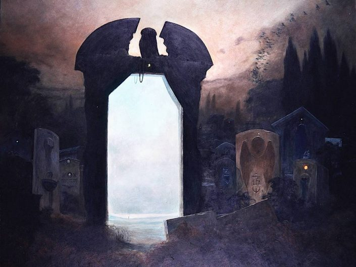 Work of Zdzisław Beksiński depicting a dark atmopshere with an arc in the middle those inside is bright