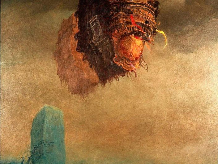 Genius of Beksinski strikes again with floating human like head depicted as a floating structure
