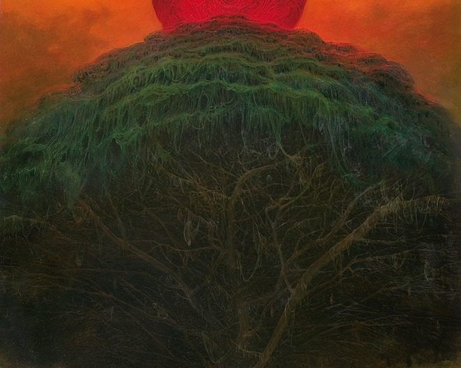 Zdzisław Beksiński painting of tree with red moon above it