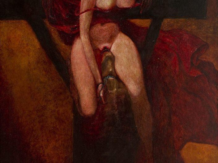 Explicit painting by Zdzisław Beksiński. Naked woman getting eaten by devil like figure.