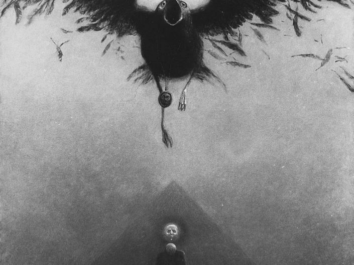 Dark art painting by Zdzisław Beksiński depicting Black crow with neclace flying over a running person