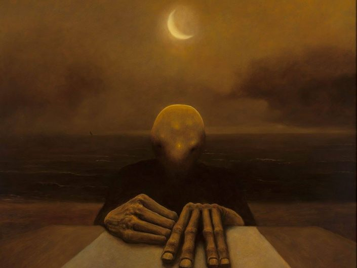 Zdzisław Beksiński work - faceless person with hands on the table in front of dice. A sea and moonshine behind.