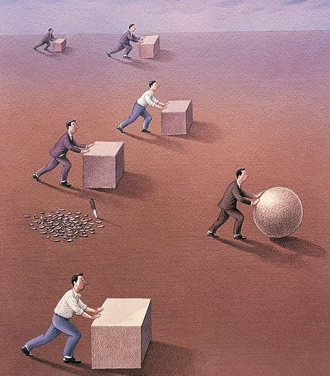 Surrealist illustration by Garbuz Dogan Eksioglu depicting workers pushing a square box, while one leading dude is pushing a ball, he left a knife and residues of forming it behind.