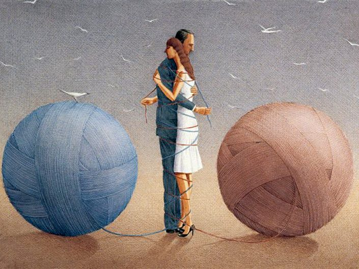 Surrealist illustration by Garbuz Dogan Eksioglu depicting male and female hugging and bonding each other with the individual ball of wool behind them