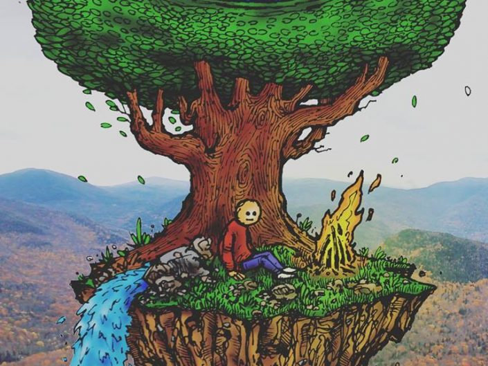 Such a Beautiful Day by MXLXTXV. Digital Painting of crying tree on mini floating island with a sad man sitting nearby the fire.