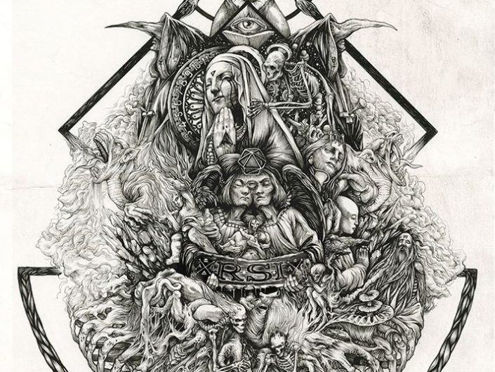 Dark Virgin by Oliver DZO. B&W spectacular symbolic pencil drawing