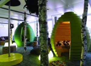 Google office in Zurich as part of Creative Thinking building. Green, innovative, thought provoking