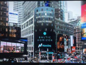 Batic Horizon Fund on Nasdaq banner in New York