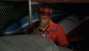 """Derice screenshot where he is saying """"Shh, she is beautiful"""" (at bobsled)"""