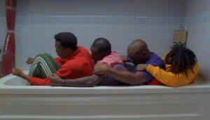 Cool Runnings Crew training in the bathtub