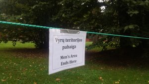 Men's area ends here - sign tied to a string at Vipassana, Lithuania