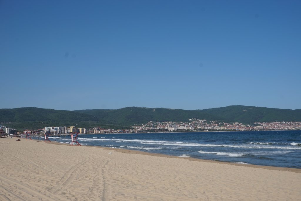 Empty Sunny Beach in April, Bulgaria