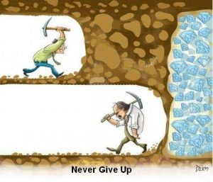 "cartoon depicting a miner that gave up and a thin wall separating him from shit loads of diamonds. Essence of cartoon ""never give up"""