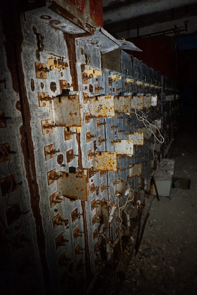 Rusted electric switch cabinet inside Buzludzha, Bulgaria