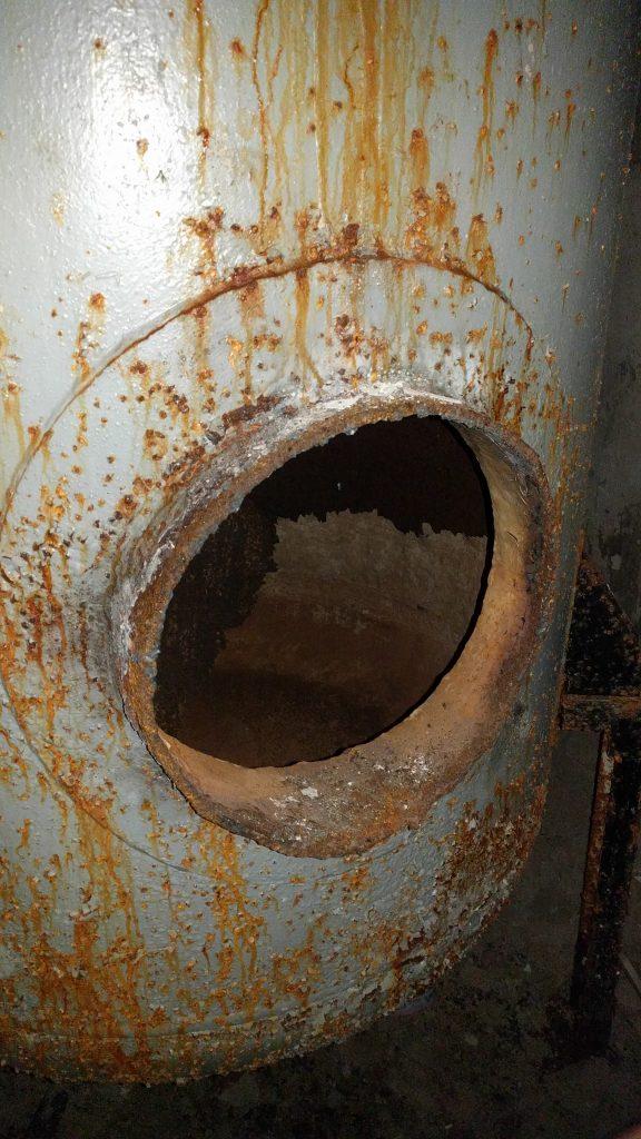 Rusted pressure vessel inside Buzludzha, Bulgaria