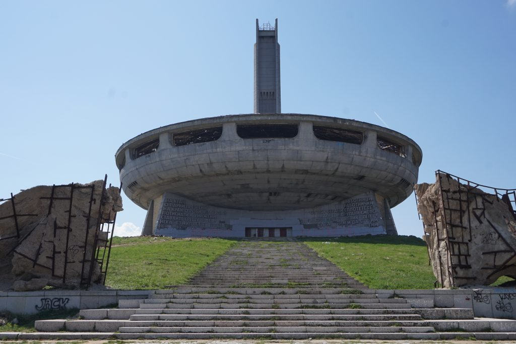 Soviet monument on the mountain - front of Buzludzha, travelling in Bulgaria