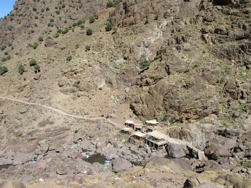 Dining place in the middle of the route from Imlil to Refuge, at Jbel Toubkal route, Marocco