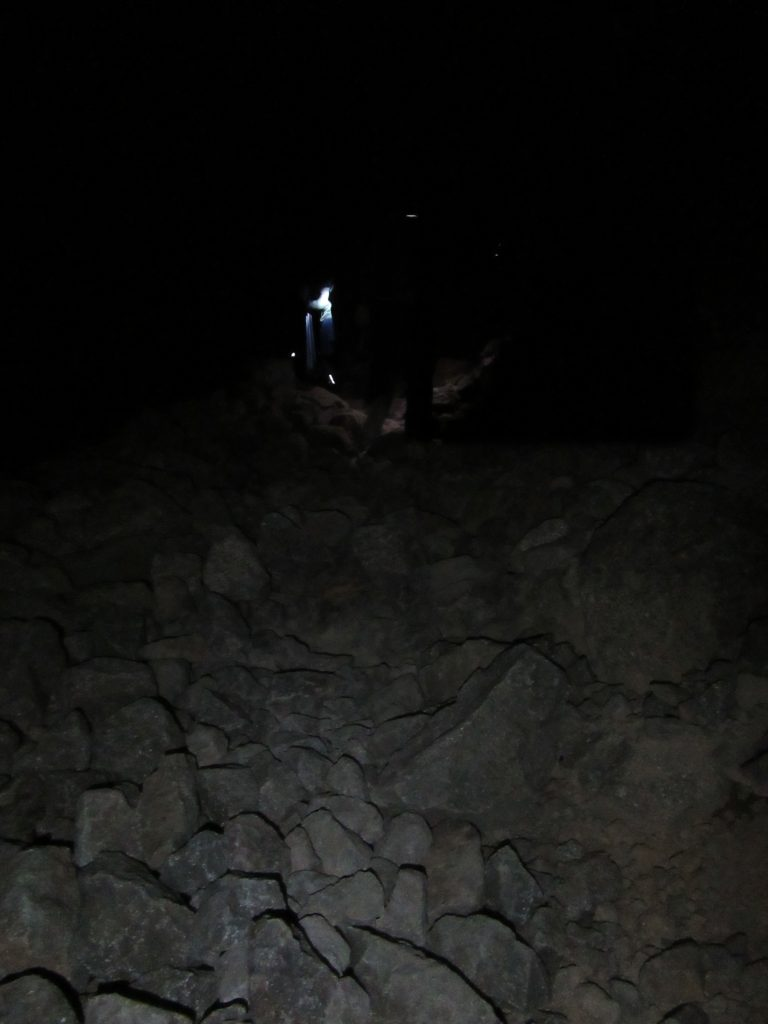 Start of Toubkal summit day in complete darkness