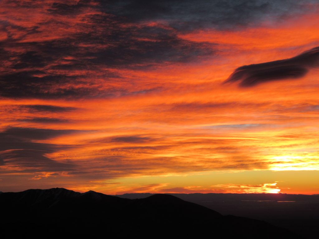 Red clouds - waiting for sunrise at Jbel Toubkal Summit Peak October 2018