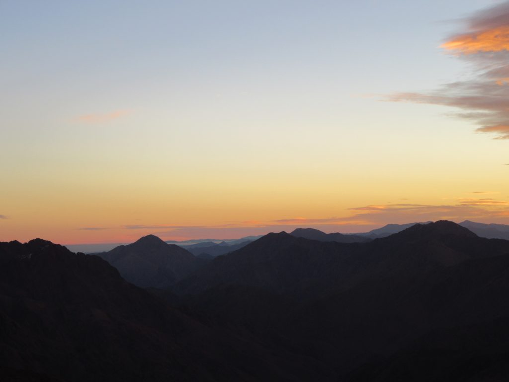 Views from the Peak Top of Jbel Toubkal Summit, Morocco, October 2018 Sunrise.