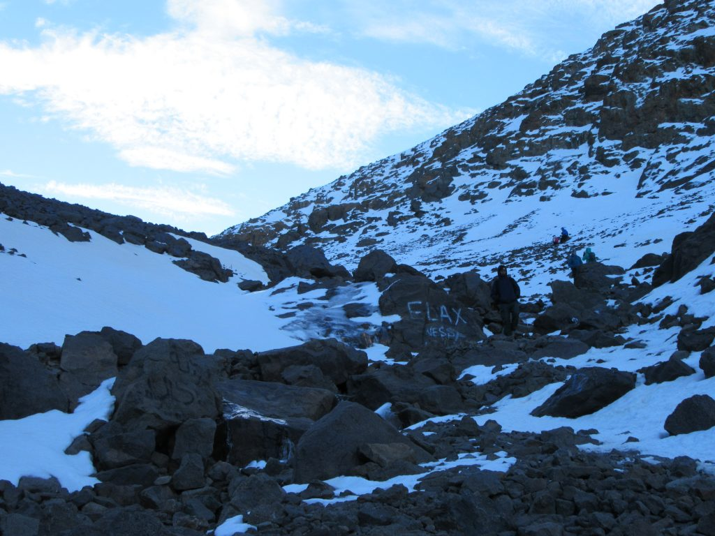 On the way back from Jbel Toubkal snowy way to Refuge Morocco
