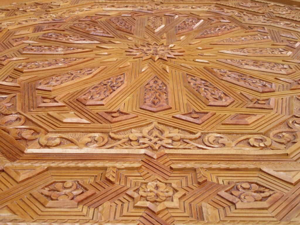 Carefully crafted wooden tabletop in Marrakesh, Morocco
