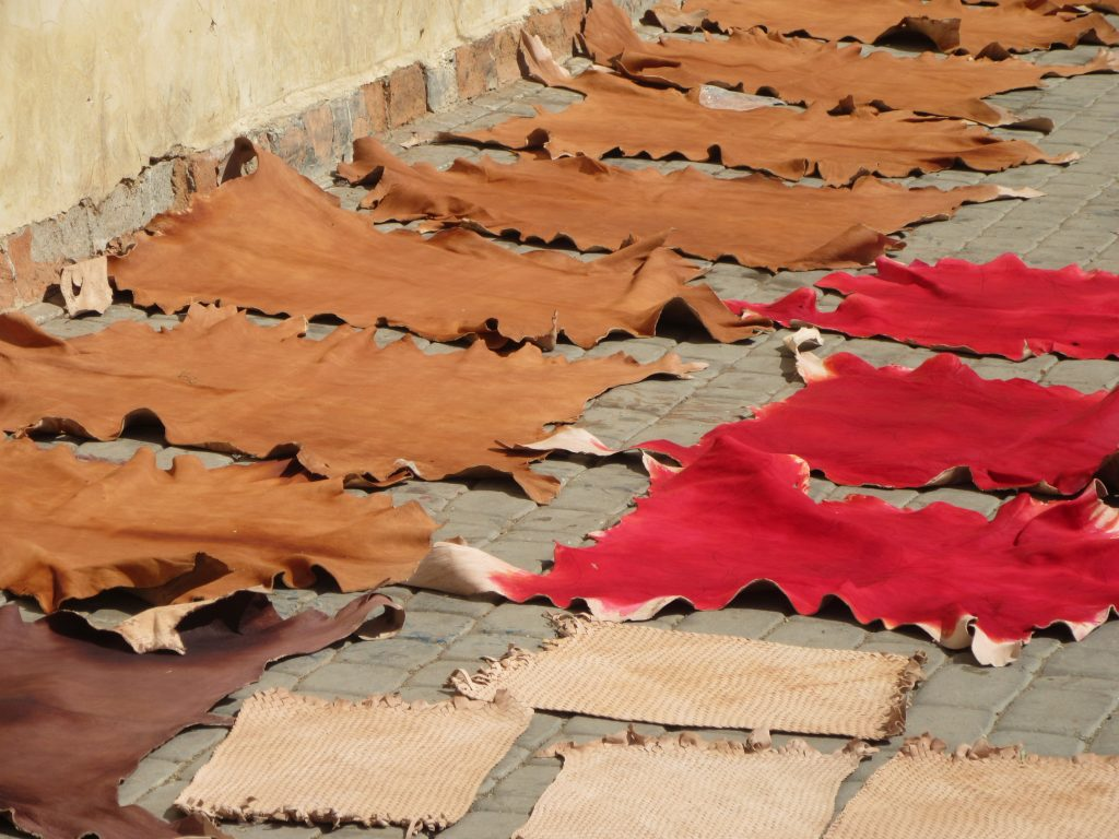 colorful leather hides drying on the floor of Marrakesh