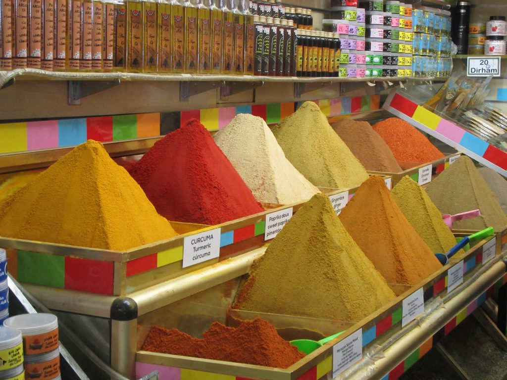 piles of spices in Marrakesh Medina oldtown, Morroco