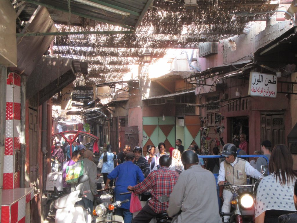 Crowded street in Marrakesh Medina oldtown, Morroco
