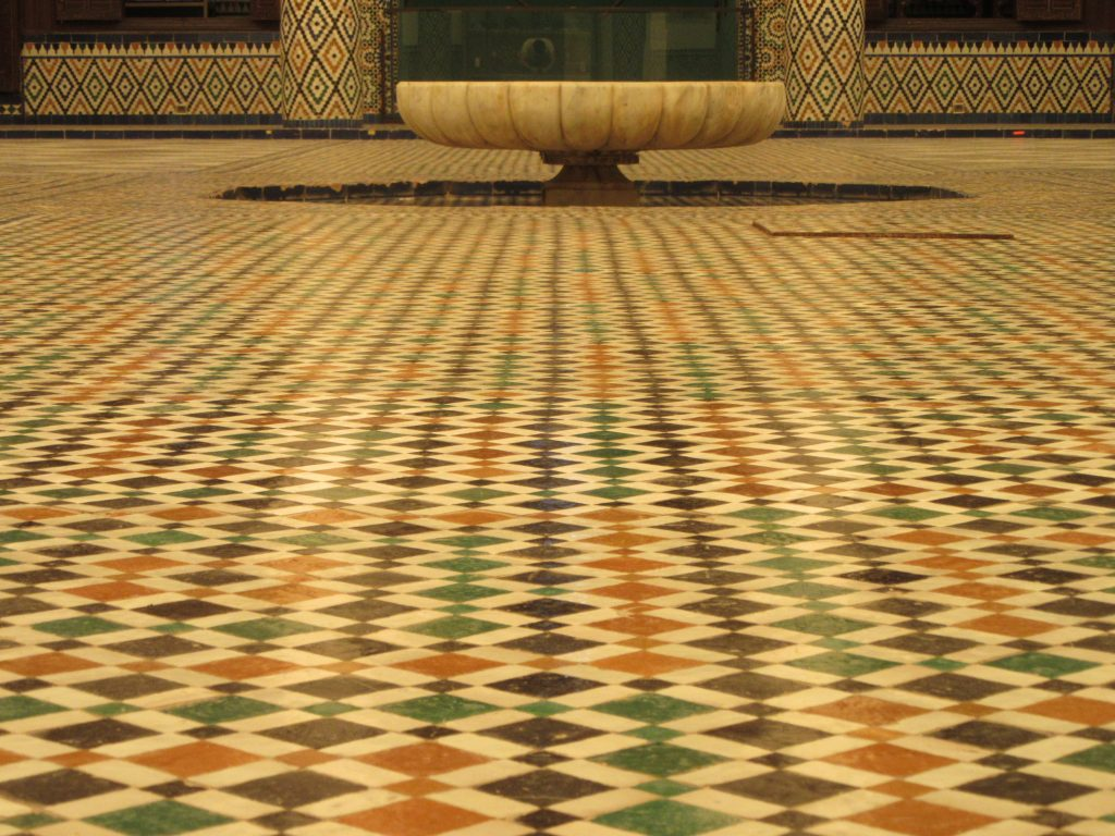 Floor of little colorful tiles at Museum of Marrakesh