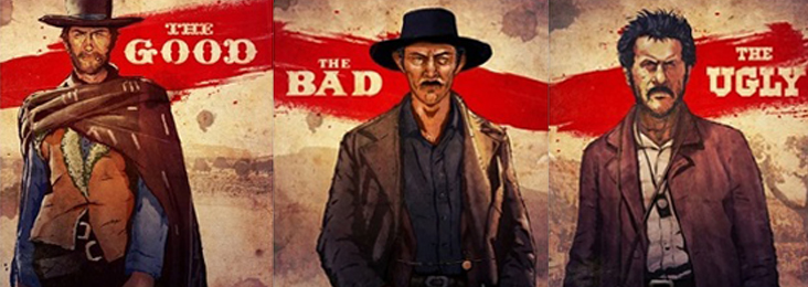 "Unoriginal poster of old western movie "" The good the bad and the ugly"""