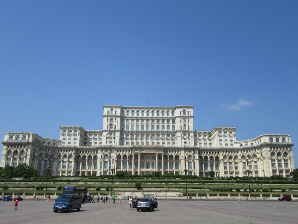 Bucharest Parliament Palace from outside. Massive. Road Trip to Romania