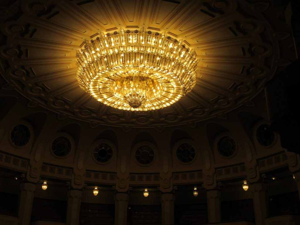 Chandelier weighting 3 tons, one of largest in the world above theater inside Bucharest Parliament Palace