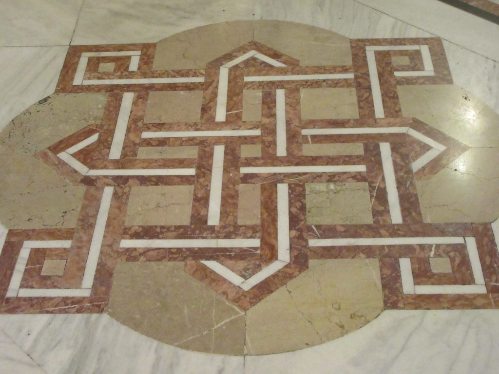 Symbol on the marble floor depicting architecture of the Bucharest Parliament Palace