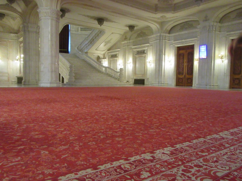 Huge carpet inside Bucharest Parliament Palace