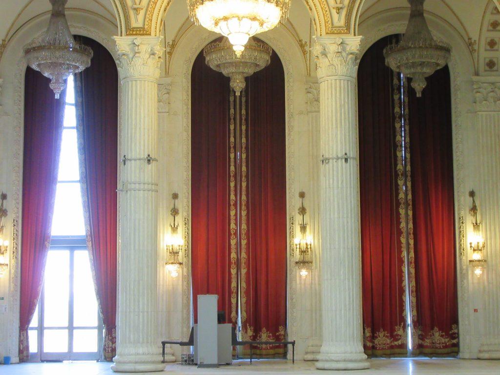 Inside Bucharest Parliament Palace. ~100 kg weighting curtais with golden threads