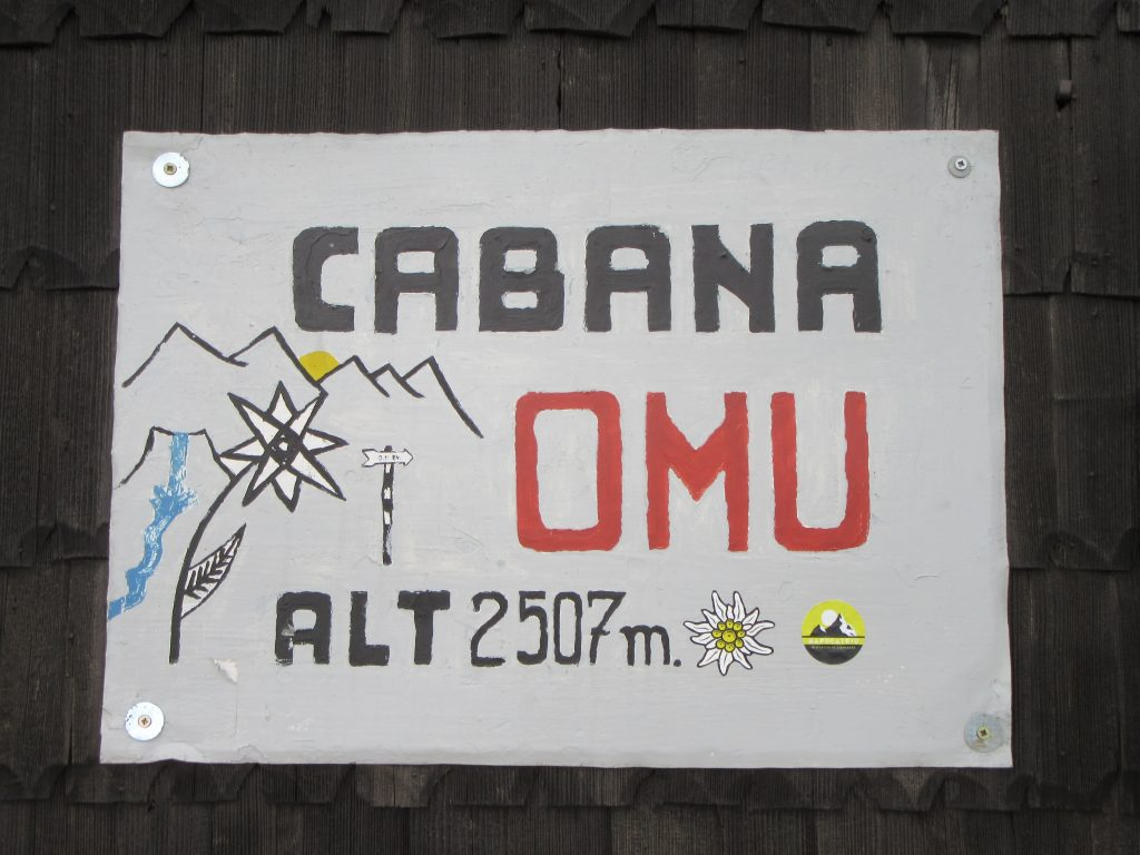 Omu Peak sign at the Hut in Bucegi Natural Park Romania