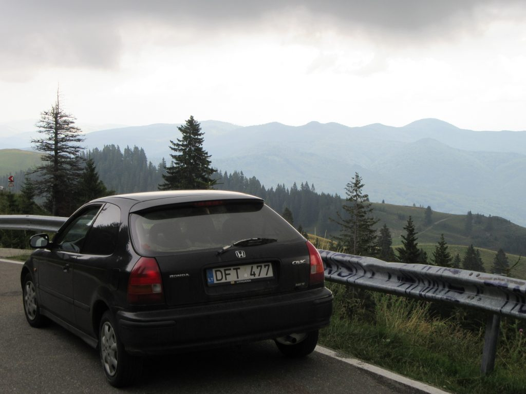 Bucegi Natural Park Romania 713 scenic road and Honda Civic. Road Trip to Romania