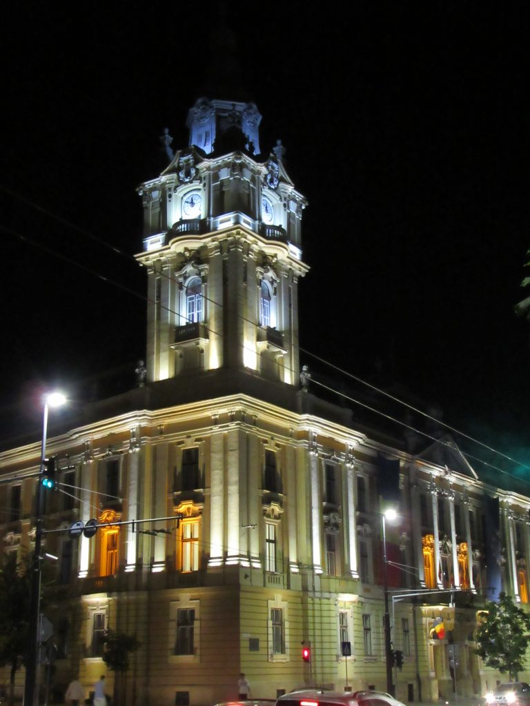 Cluj Napoca buildings in the evening