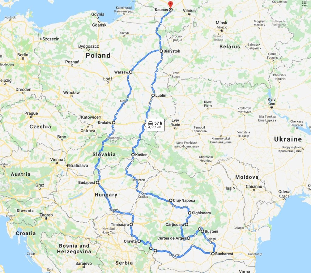 Roadtrip from Kaunas, Lithuania to travelling around Romania.