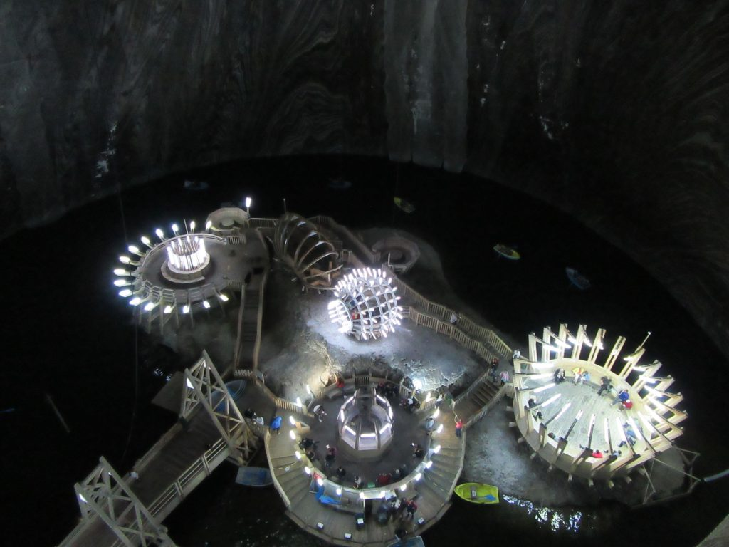 Inside Sci-Fi Salina Turda Salt Mine, Turda, Romania. Road Trip to Romania