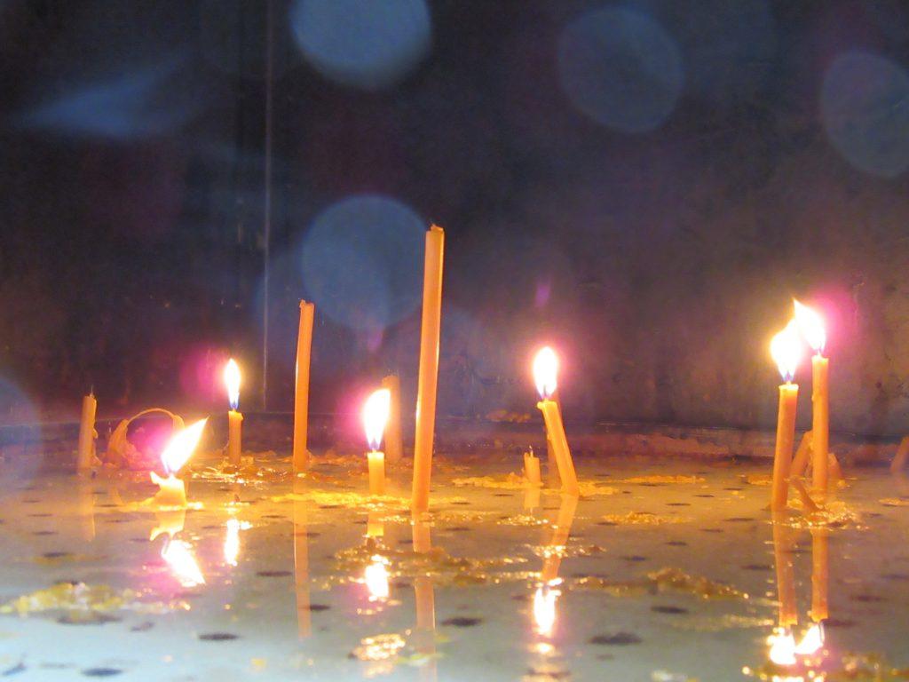 Candle burning box inside Timisoara Orthodox Cathedral